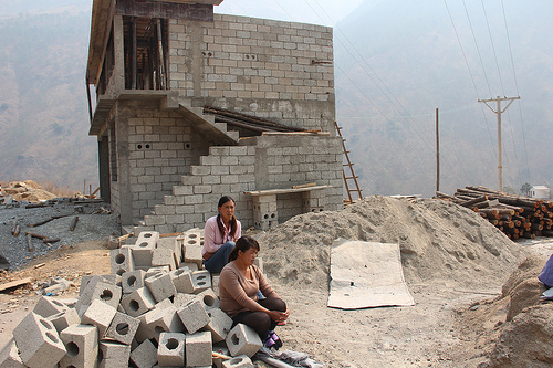 An unfinished home along the Lancang River