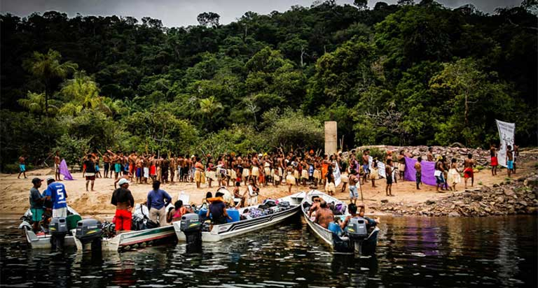 The Munduruku gather for the occupation of the São Manoel dam. For the Munduruku, numbering more than 13,000 living in 112 villages, mainly along the upper reaches of the Tapajós basin, this is a last-ditch battle to save the Amazon forest and their homeland.